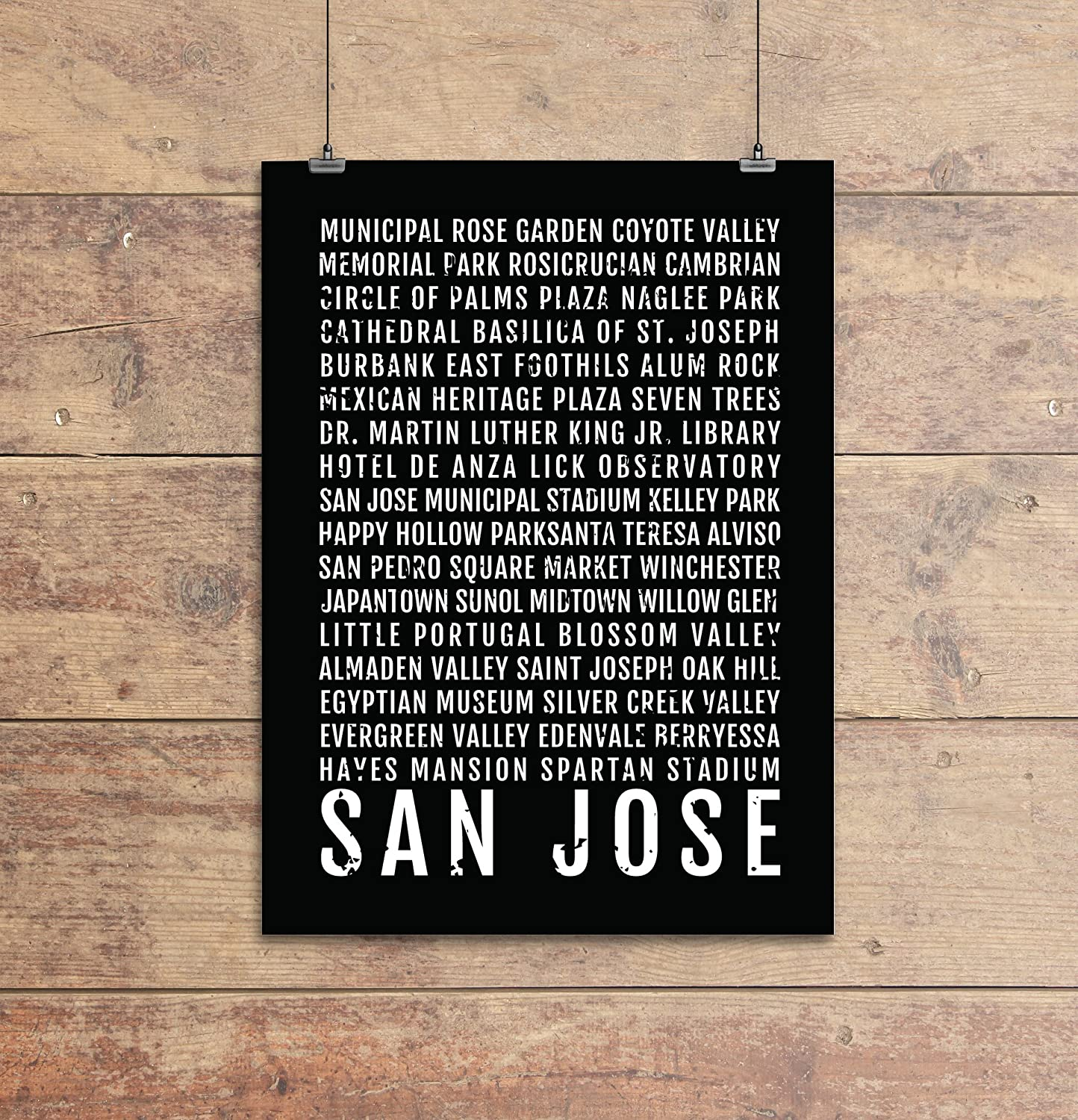 San Jose Subway Map.Amazon Com San Jose Print Neighborhoods Subway Sign Poster