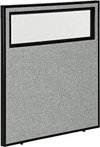 "36-1/4""W x 42""H Office Partition Panel with Partial Window, Gray"