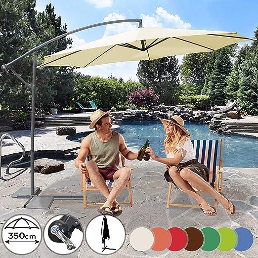 Ecru Small Ombrellone da Giardino Decentrto 2,5 x 2,5 MT con palo Laterale decentarto