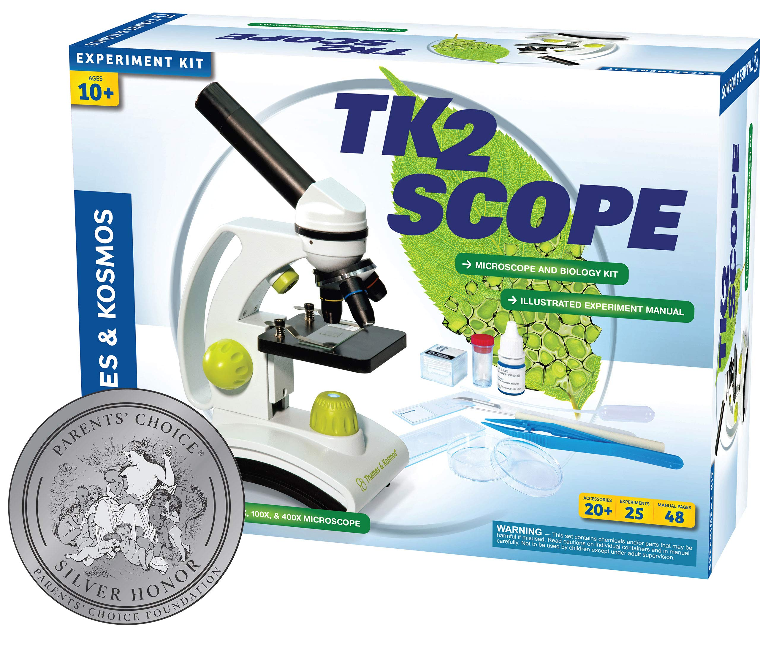 Thames & Kosmos TK2 Scope Biology and Durable Metal Microscope Set with Glass Optics, 25 Experiments and 48 Page Full Color Lab Manual, Professional Student Quality by Thames & Kosmos