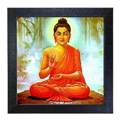 Sehaz Artworks Buddha Wall Photo Painting (Vinyl, 30 cm x 30 cm x 3 cm, Black, SZA-Budha_006)