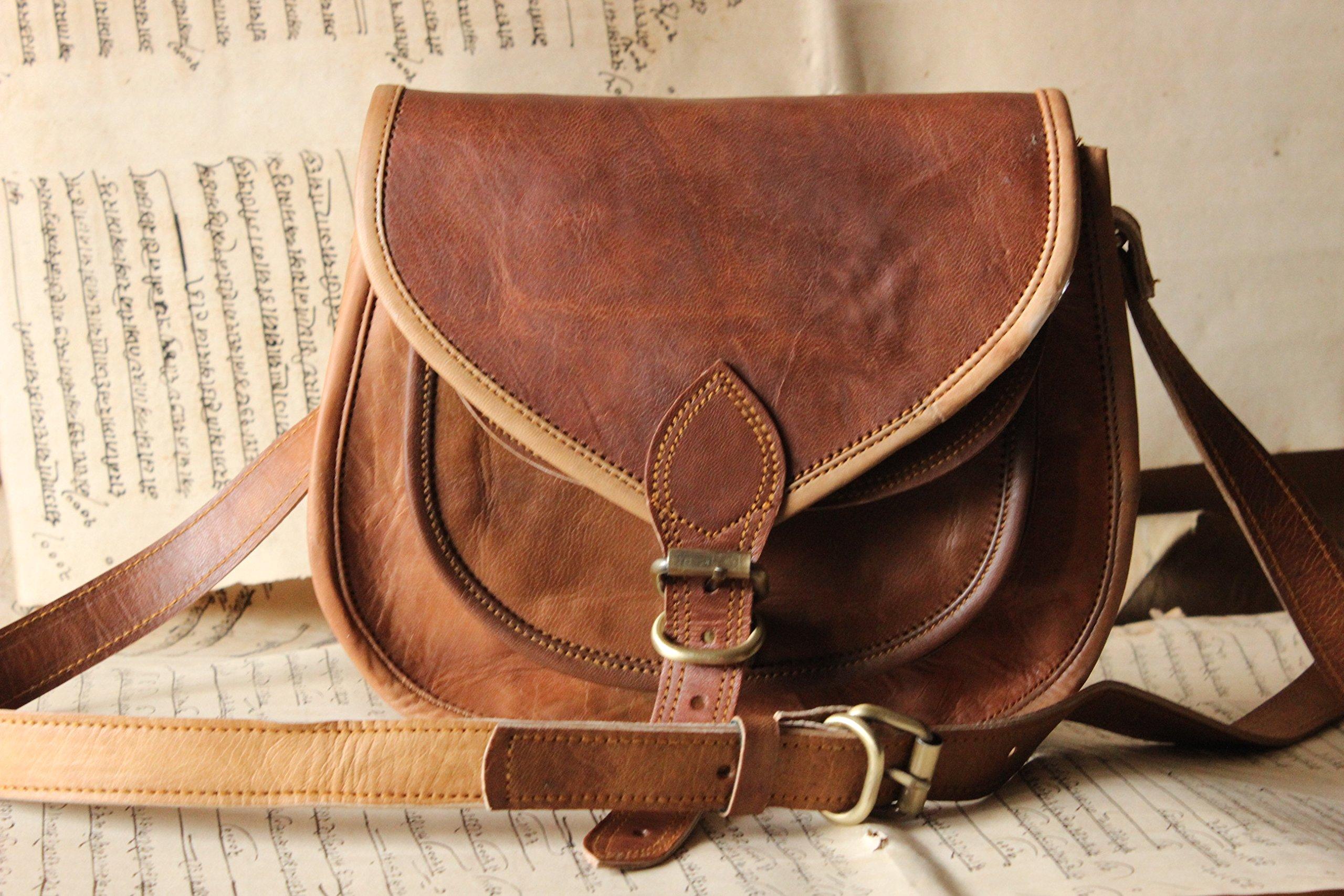 Handmade Craft 9'' X 7'' Brown ,Genuine Leather Women's Bag /Handbag / Tote/purse/ Shopping Bag