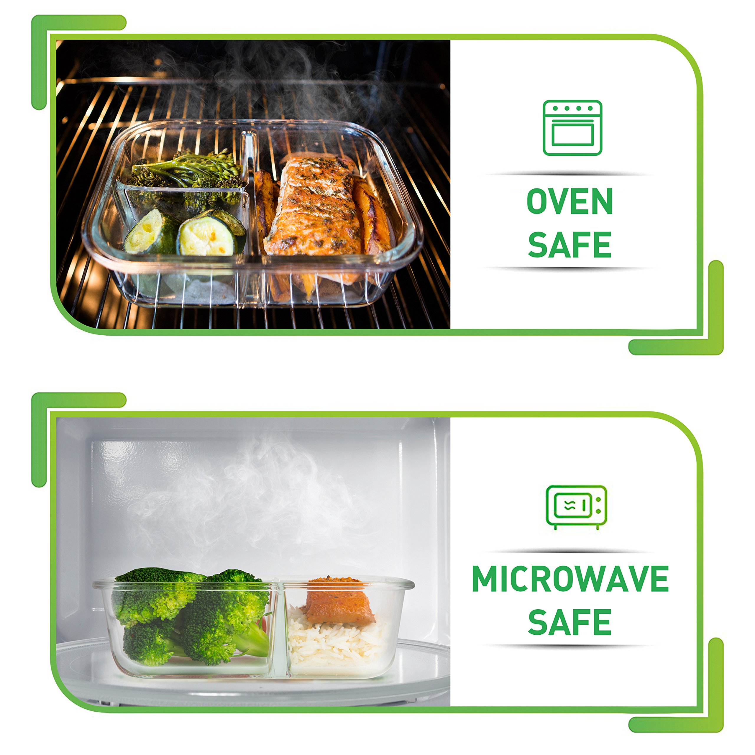 [5-Pack] Glass Meal Prep Containers 3 Compartment - Bento Box Containers Glass Food Storage Containers with Lids - Food Prep Containers Glass Storage Containers with lids Lunch Containers by Prep Naturals (Image #3)