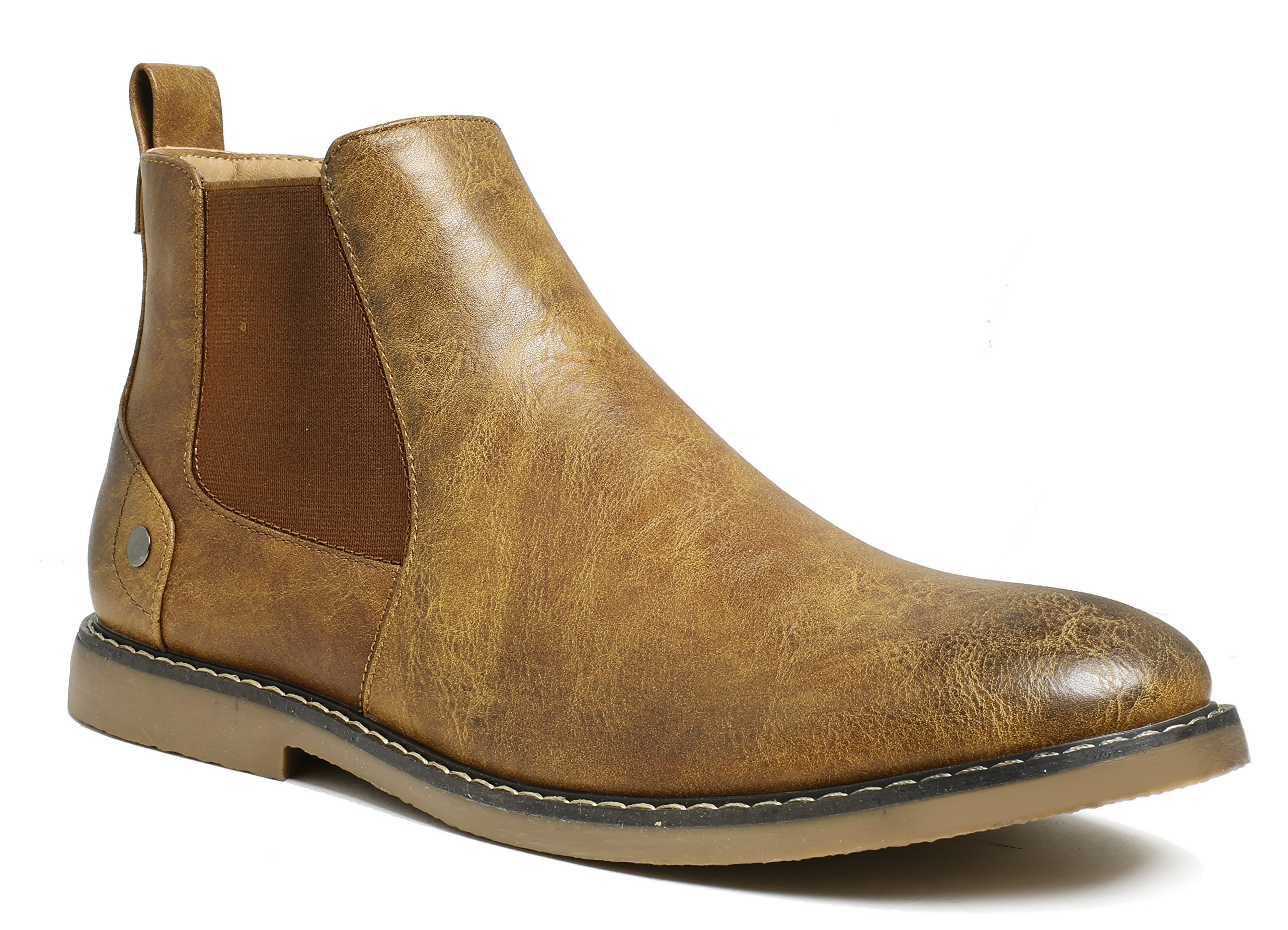 PartyEight Mens Ankle Casual Chelsea Boots Brown 10