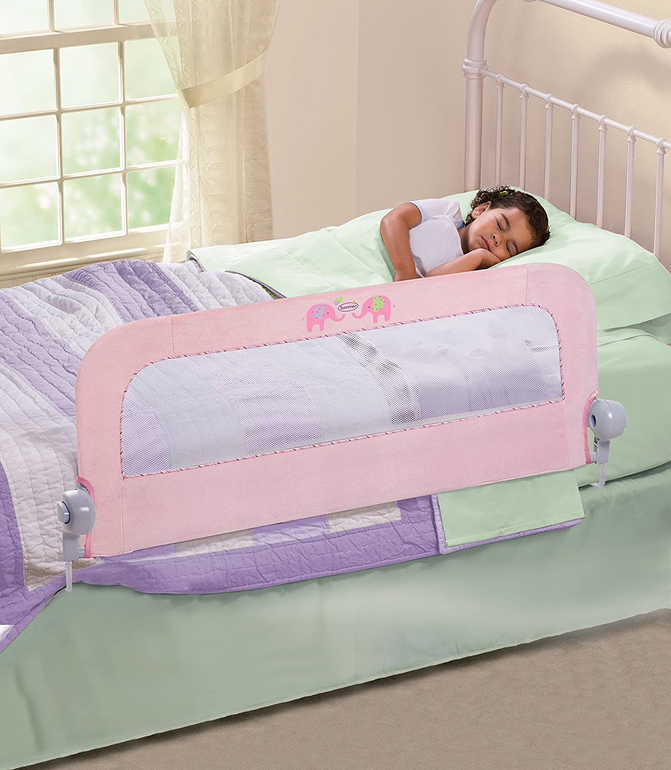 Amazon Summer Infant Sure And Secure Deluxe Bedrail Pink N Plush Childrens Bed Safety Rails Baby