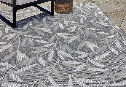Gertmenian 21270 Nautical Tropical Outdoor Patio Rugs 5x7 Standard Willow Leaf Gray