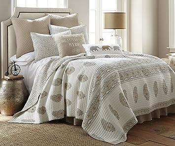 Amazon.com: Skylar Beige King Cotton Quilt Set Cream, Gold, Grey ... : beige quilt - Adamdwight.com