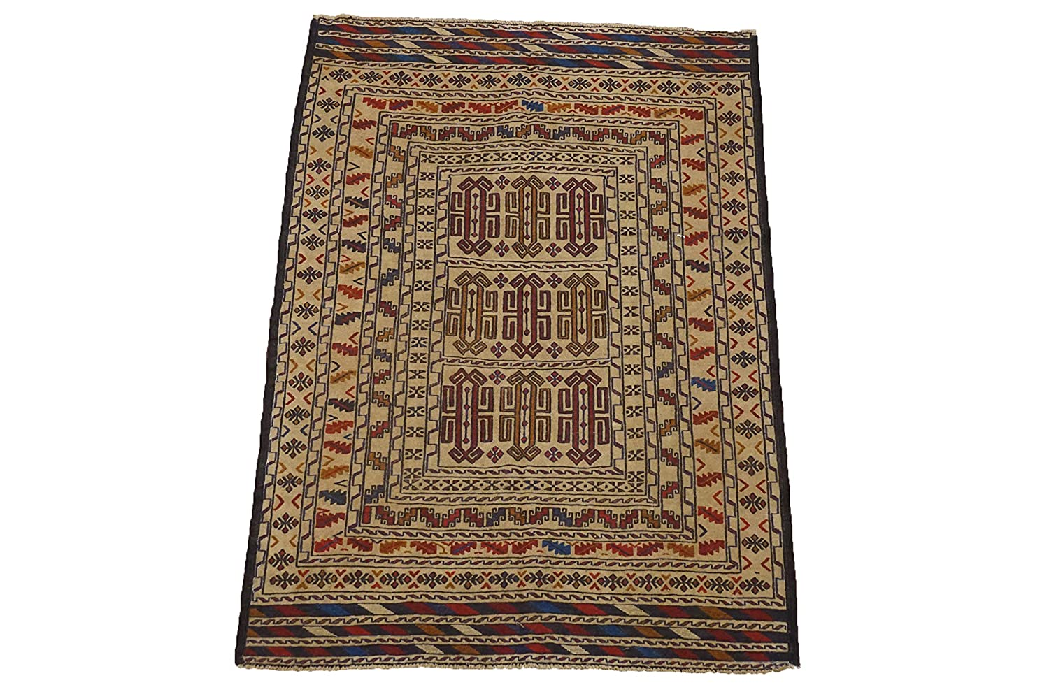 Amazon.com: 4X6 Afghan Sculpted Tribal Hand-Knotted Wool Carpet Oriental Area Rug (4 x 6.5)(F): Kitchen & Dining