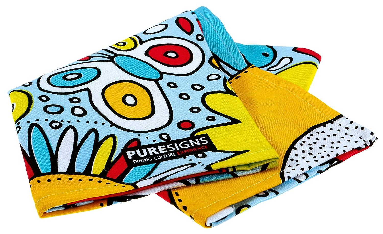 Puresigns COLOR YOUR LIFE Fr/ühst/ücksbesteck mit Geschirrtuch Lass es Dir schmecken Edelstahl Poliert Bunt 5-teilig