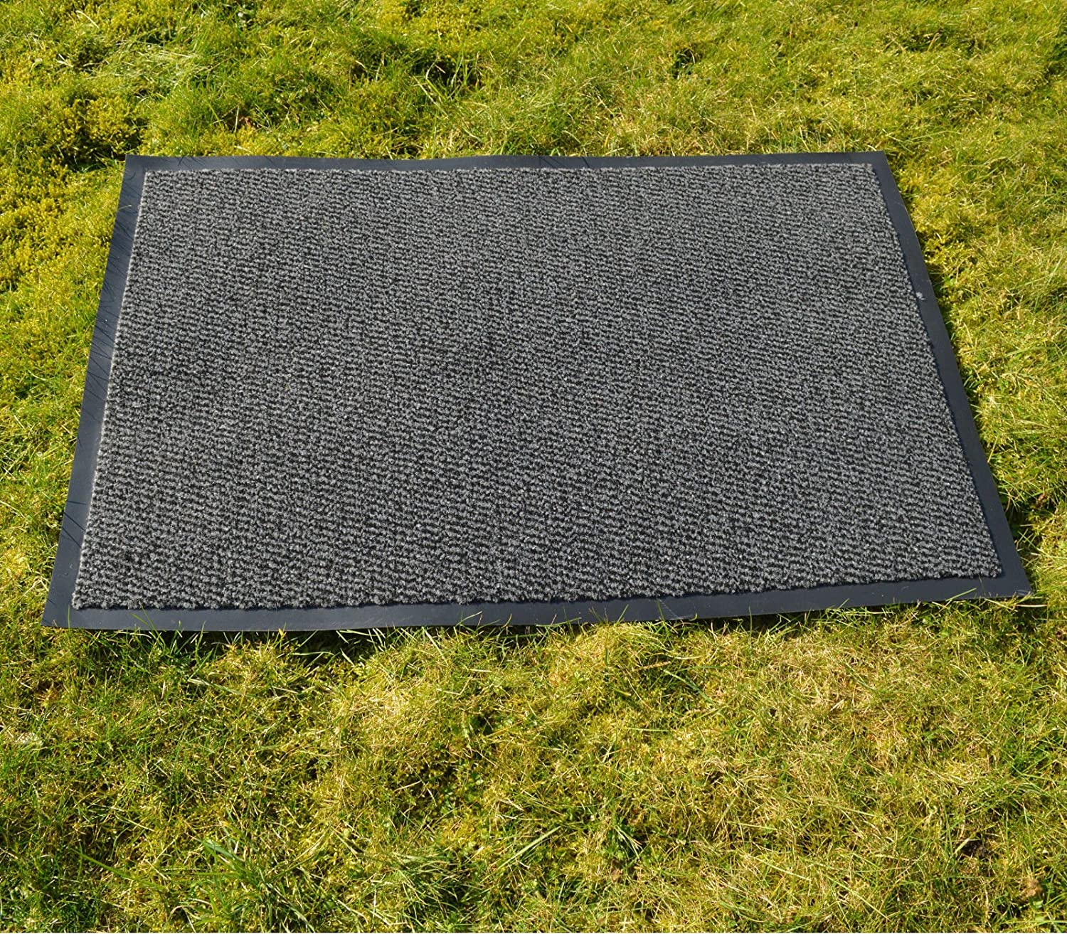FB FunkyBuys® LARGE SMALL KITCHEN HEAVY DUTY BARRIER MAT NON SLIP RUBBER BACK DOOR HALL RUGS-AVAILABLE IN 4 COLORS AND VARIOUS SIZES (40x60 cm, Anthracite/Black)