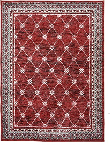 Designer Collection Trellis Design Contemporary Modern Area Rug Rugs Red