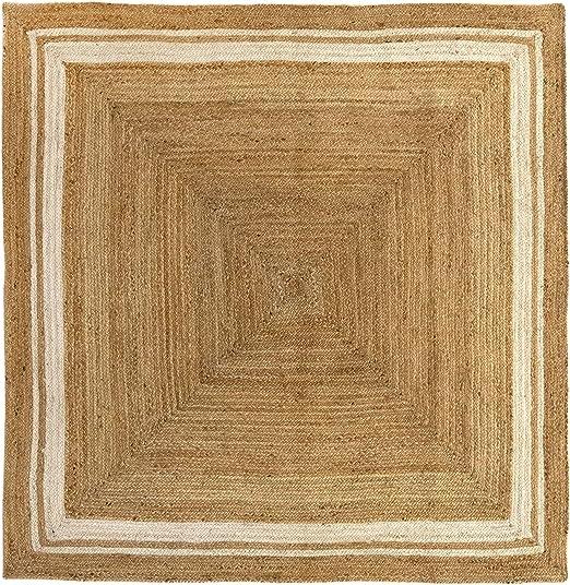 Alfombra 100/% Fibra de Yute 160x230cm HAMID Alfombra Yute Alhambra Color Natural Greca Blanca