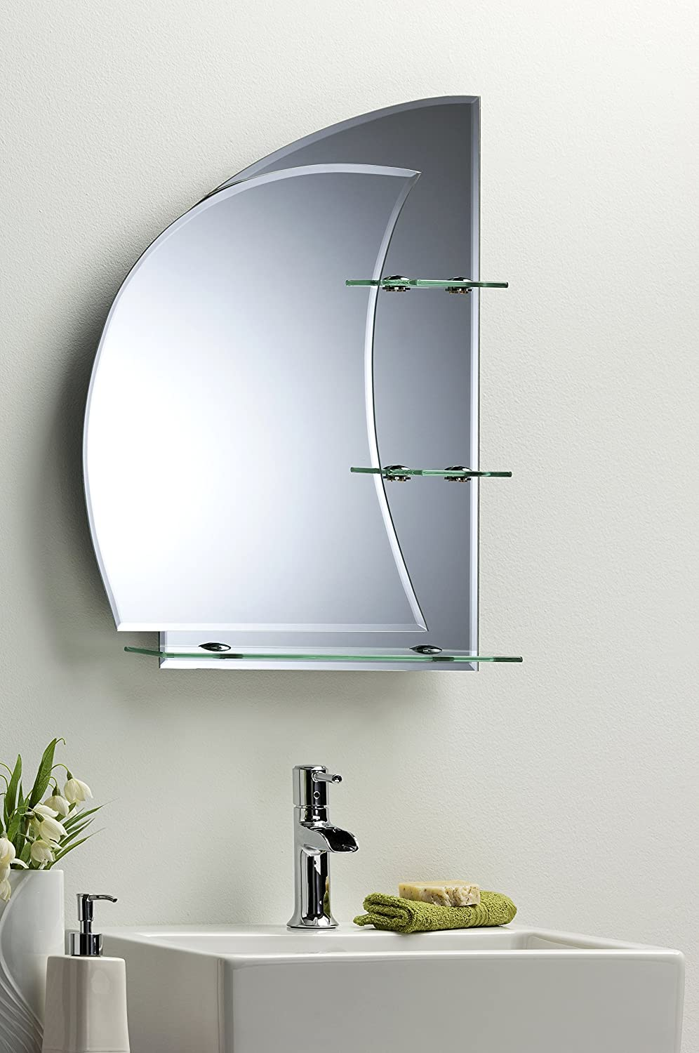 Bathroom mirror with shelves stunning nautical design 70cm x 50cm plain wall mounted amazon co uk kitchen home