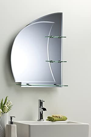 bathroom mirror nautical design 60cm x 43cm plain wall mounted 2 small shelves 1 large shelf