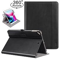 Ztotop iPad 9.7 Inch 2017/2018 Case,[360 Degree Rotating/Genuine Leather] with Auto Wake/Sleep,Pencil Holder,Hand strap for New Apple iPad Education,iPad 9.7 2017,iPad Air 2,Black