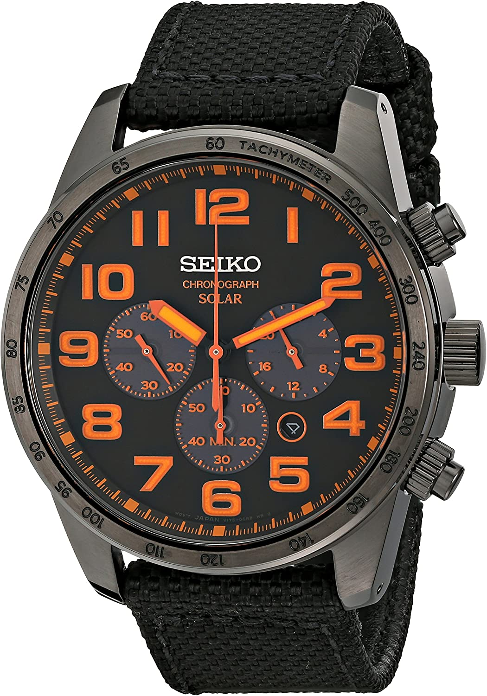 Seiko Men's Black Ion Finish Nylon Strap Solar Chronograph Watch
