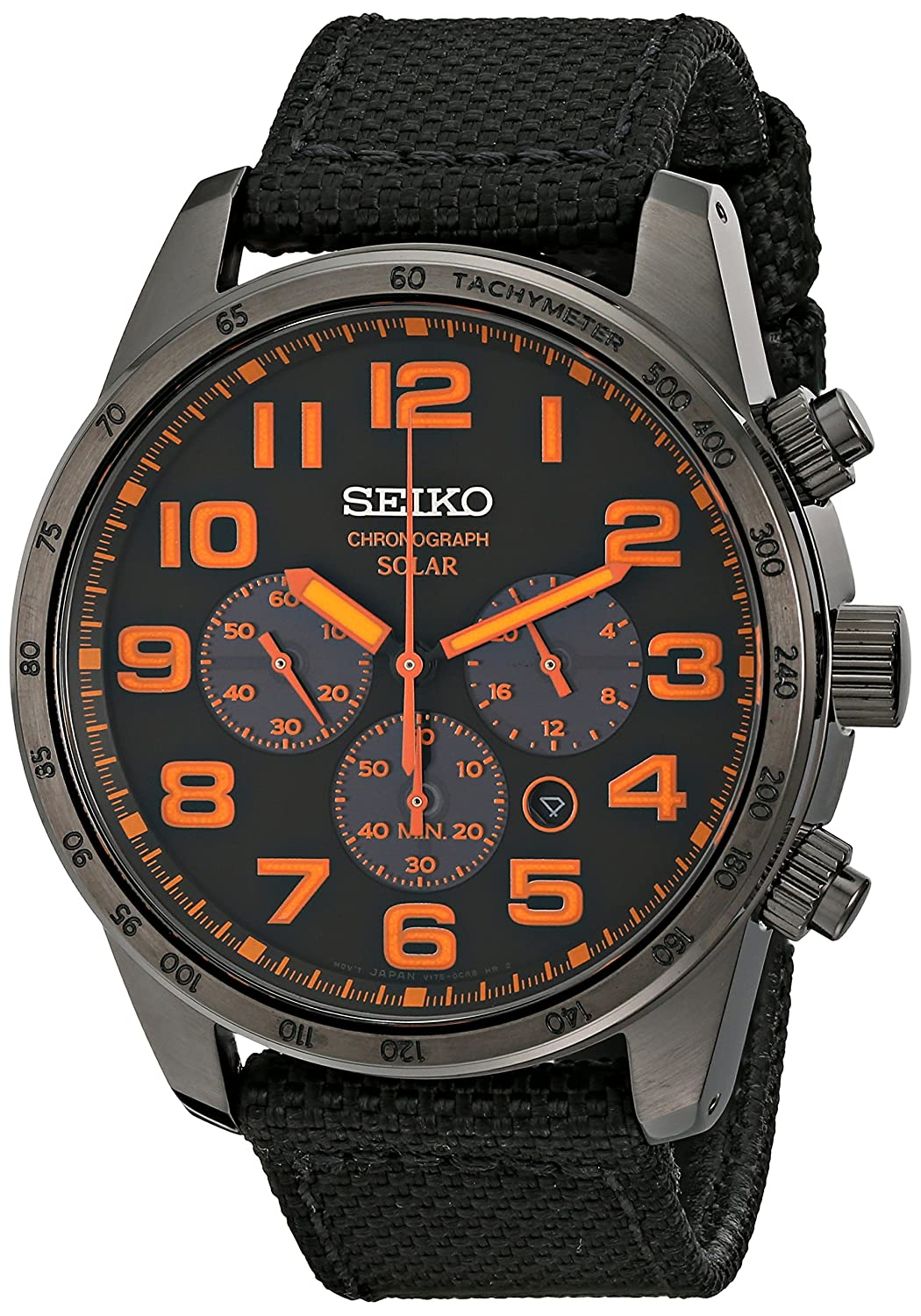 Seiko Men's Black Ion Finish Nylon Strap Solar Chronograph Watch