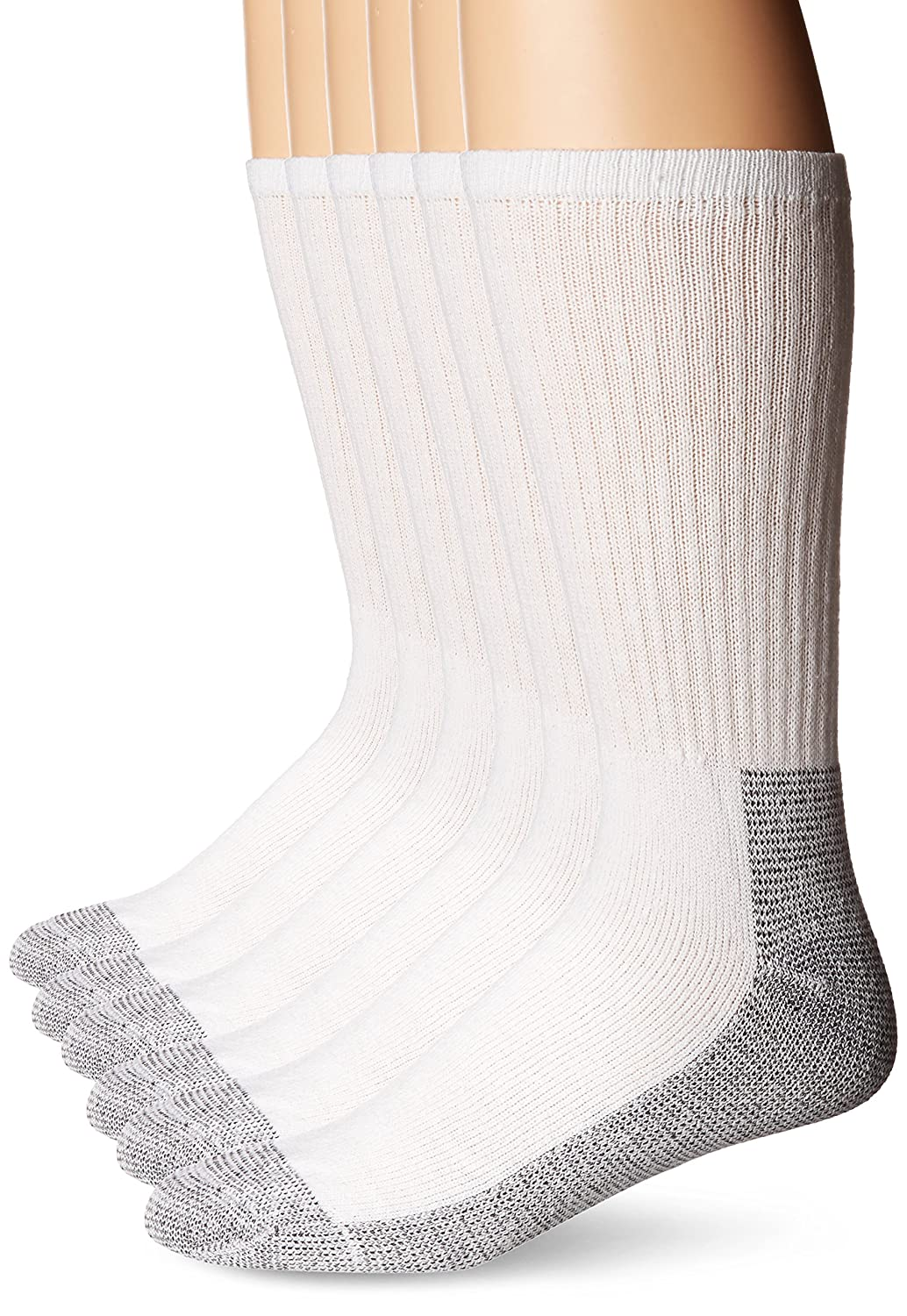 Fruit of the Loom 6 Pair Big and Tall Full Cushion Work Gear Crew Sock -white Shoe size 12-16 K8000W6US