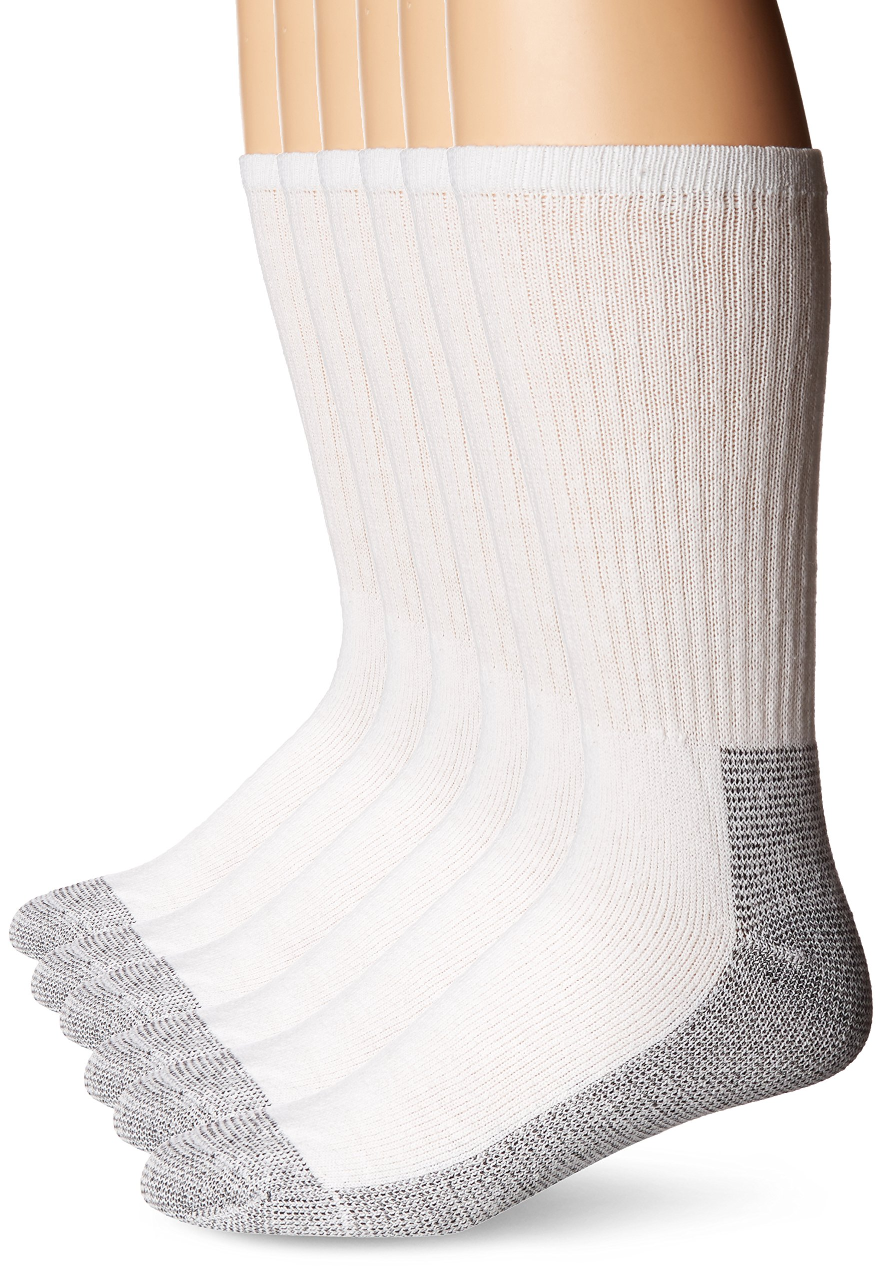 Fruit of the Loom Men's Big-Tall 6 Pair Big & Tall Full Cushion Work Gear Crew Sock Sockshosiery, white, Shoe size 12-16