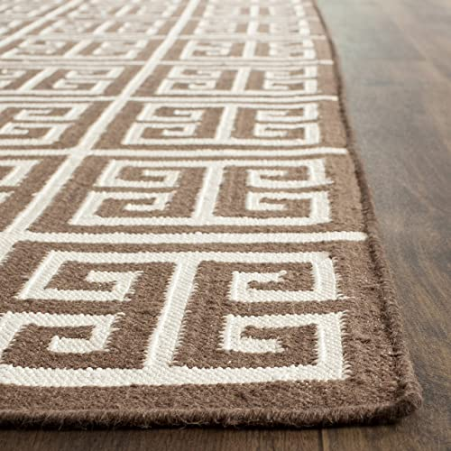 Safavieh Dhurries Collection DHU626C Hand Woven Brown and Ivory Premium Wool Area Rug 4 x 6