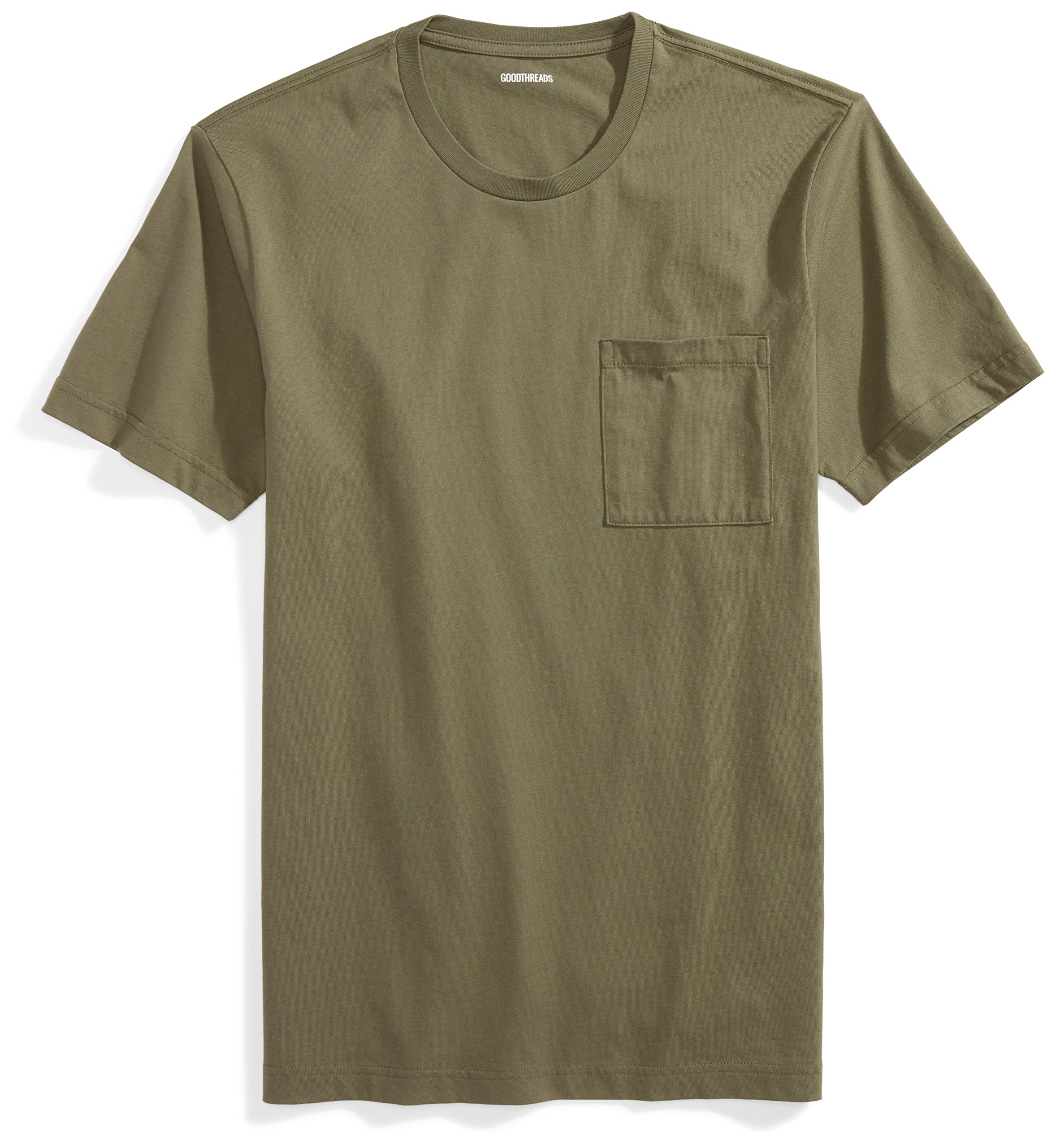 Goodthreads Men's Short-Sleeve Crewneck Cotton T-Shirt, Olive, X-Large