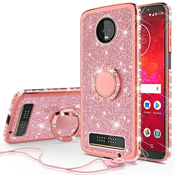 new product 1436b 08639 Moto Z3 Play Case, SOGA Cute Girl Shinny Rhinestone Slim TPU Bumper  Sparkling Glitter Bling Diamond Cover Compatible for Motorola Moto Z3 Play  with ...