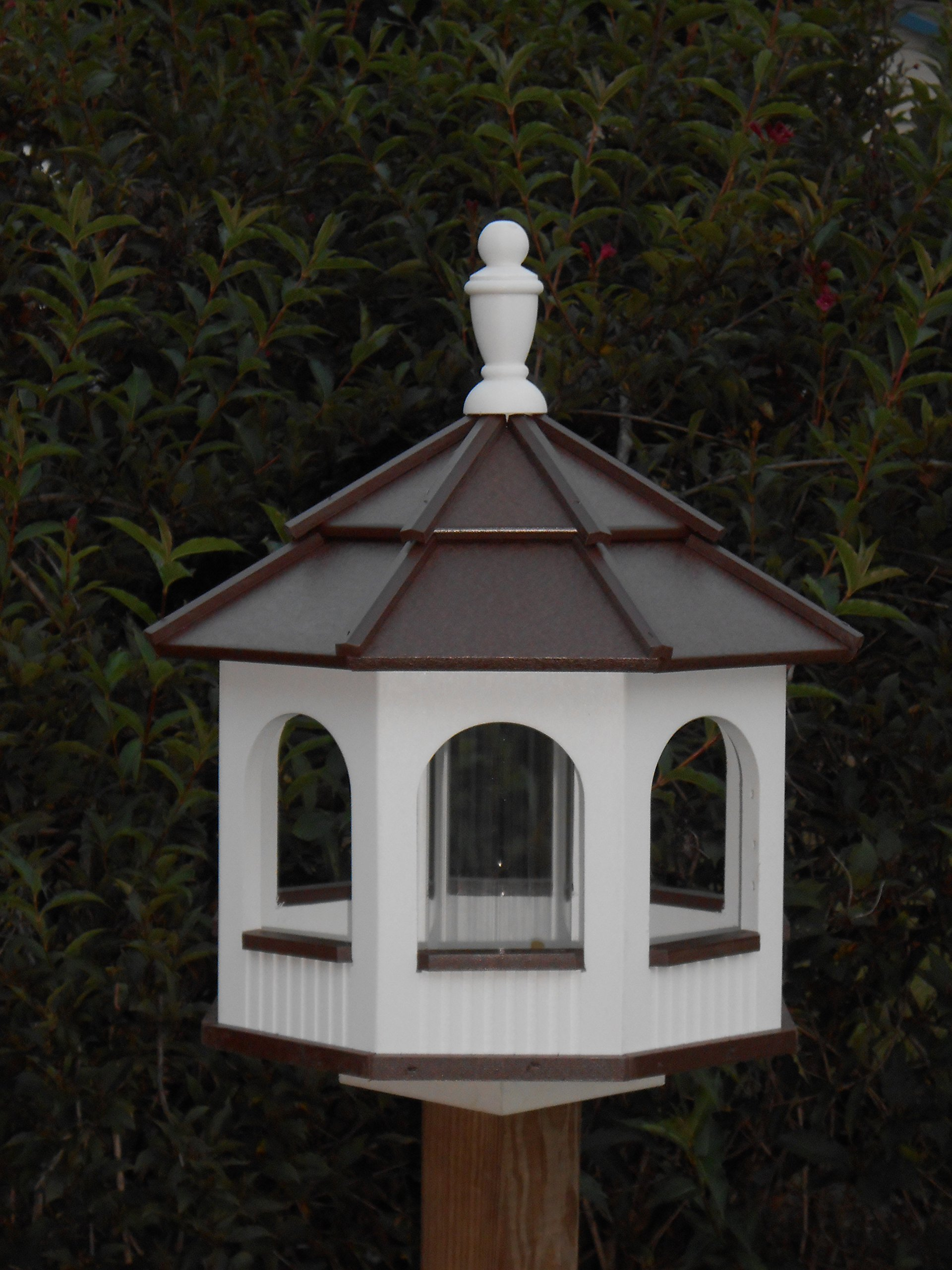 Large Gazebo Vinyl Bird Feeder Amish Homemade Handmade Handcrafted White & Brown