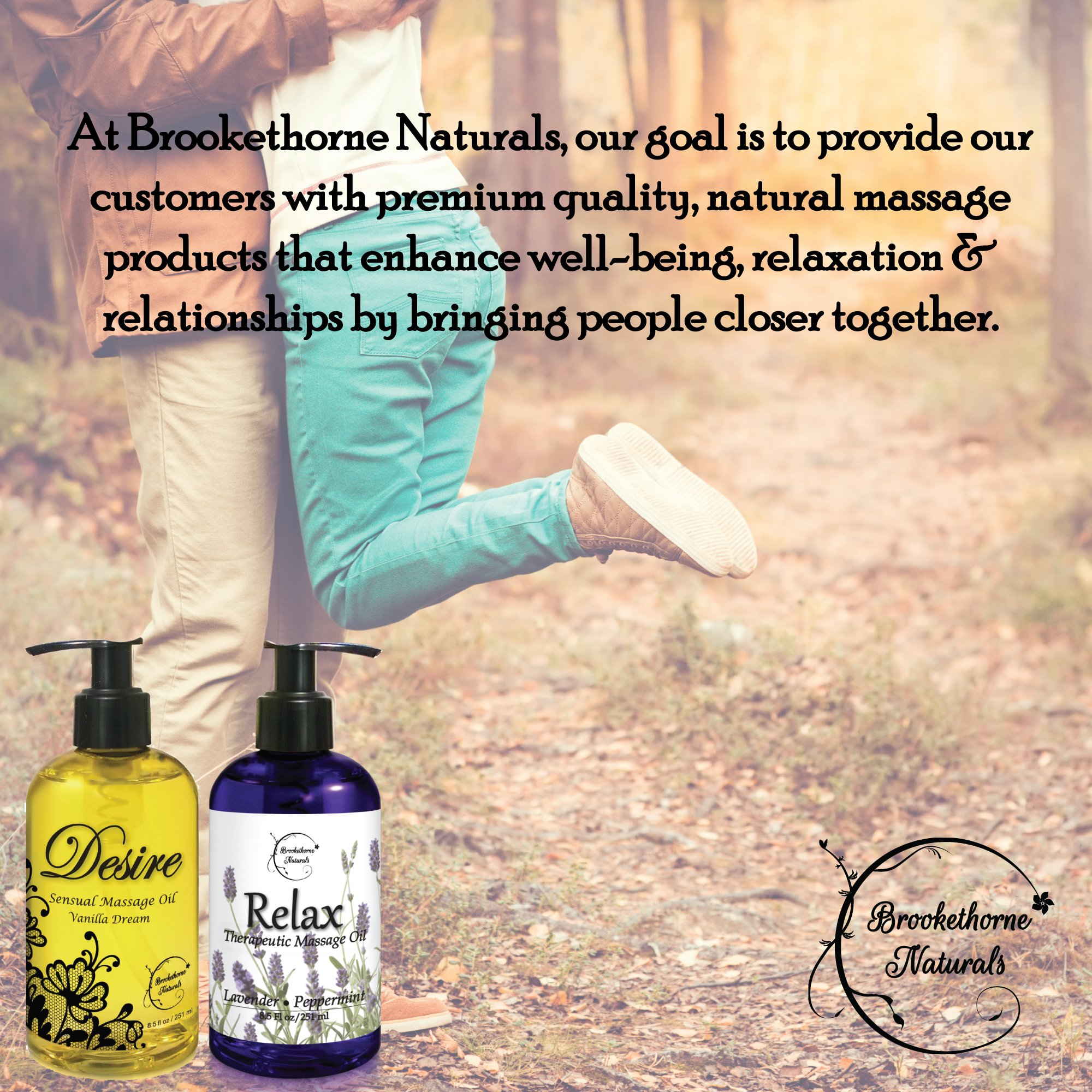 Relax Therapeutic Body Massage Oil - With Best Essential Oils for Sore Muscles & Stiffness – Lavender, Peppermint & Marjoram - All Natural - With Sweet Almond, Grapeseed & Jojoba Oil 8.5oz by Brookethorne Naturals (Image #2)