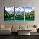wall26 - 3 Piece Canvas Wall Art - Beautiful Landscape with Turquoise Lake, Forest and Mountains - Modern Home Art…