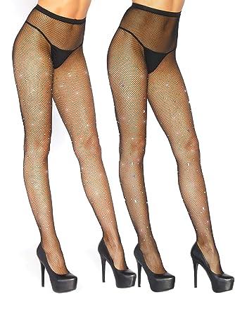 93fbba891b9f6e Amazon.com: Womens Glitter Crystal Rainbow Rhinestone Fishnet Pantyhose  Tights- Pack of 2: Clothing