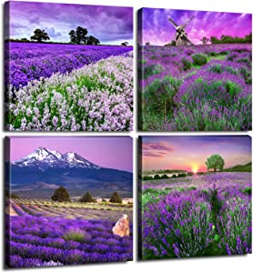"Pastoral Home Decor Canvas Wall Art - Purple Lavender Flowers Pictures Provence Fields Landscape Paintings Living Room Bedroom Bathroom Decoration Stretched And Framed Sets of 4 Pieces 12x12"" / Panel"