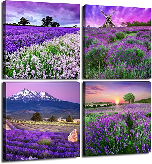 Amazon Com Pastoral Home Decor Canvas Wall Art Purple Lavender
