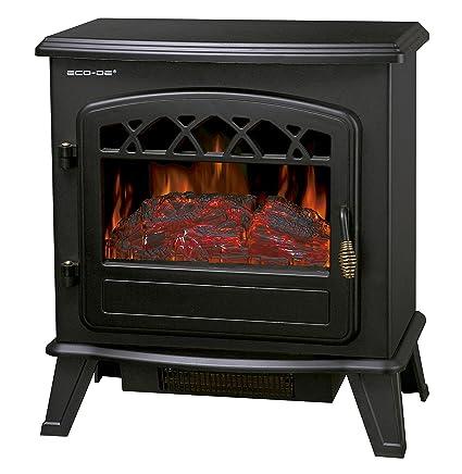 ECO-DE-DE Chimenea eléctrica, Calefactor de 1800 W con termostato Ajustable,