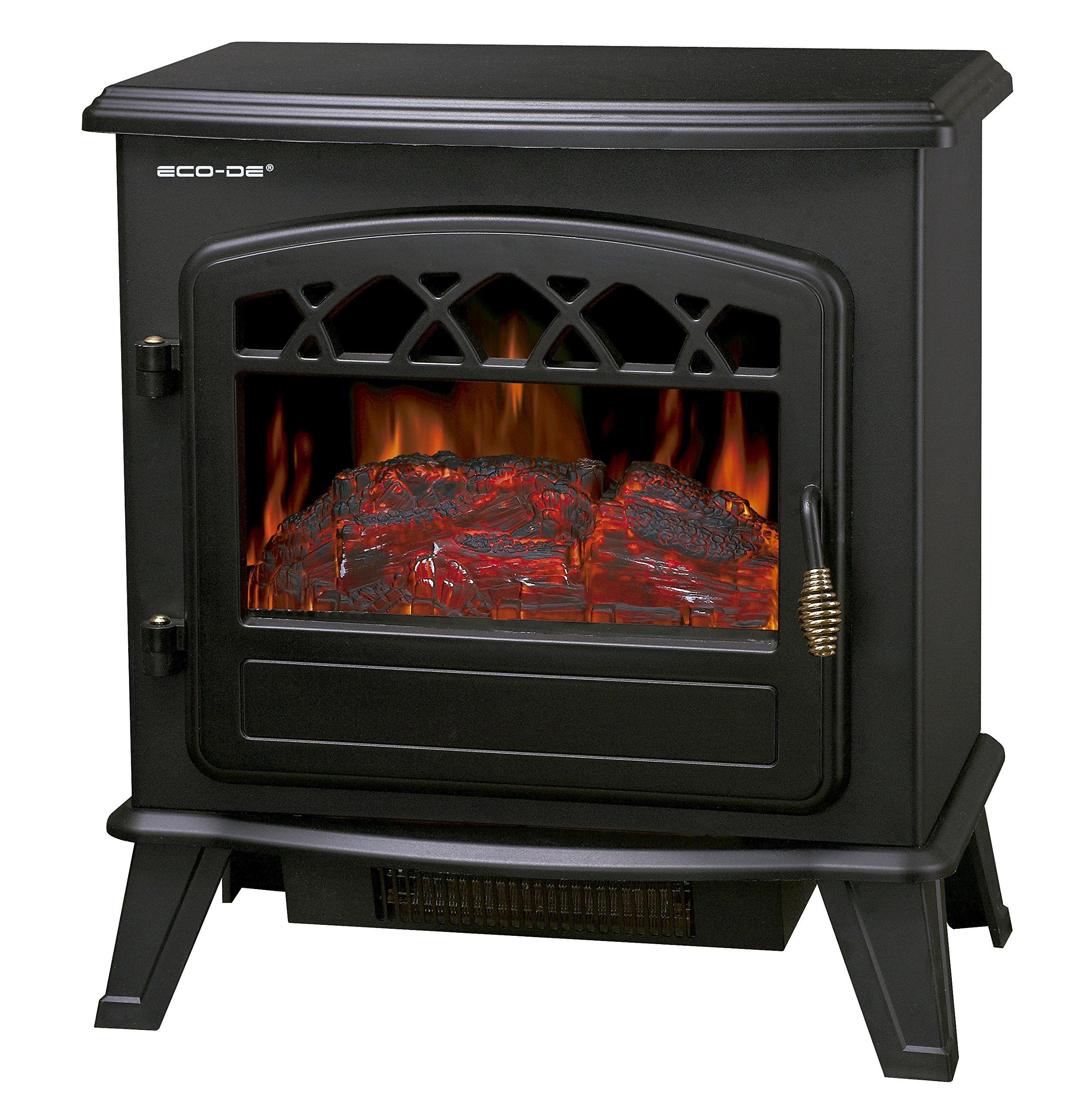 ECO-DE Chimenea eléctrica, Calefactor de 1800 W con termostato Ajustable, con leña