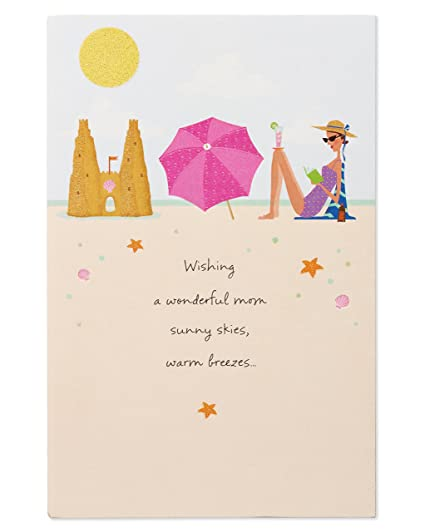 Amazon Com Beach Birthday Card For Mom With Glitter Office Products