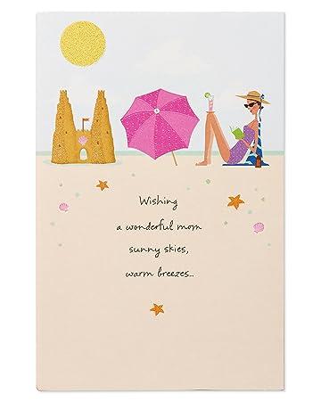 Geburtstagskarte Schreiben Mama.Beach Geburtstagskarte Fur Mama Mit Glitzer Amazon De