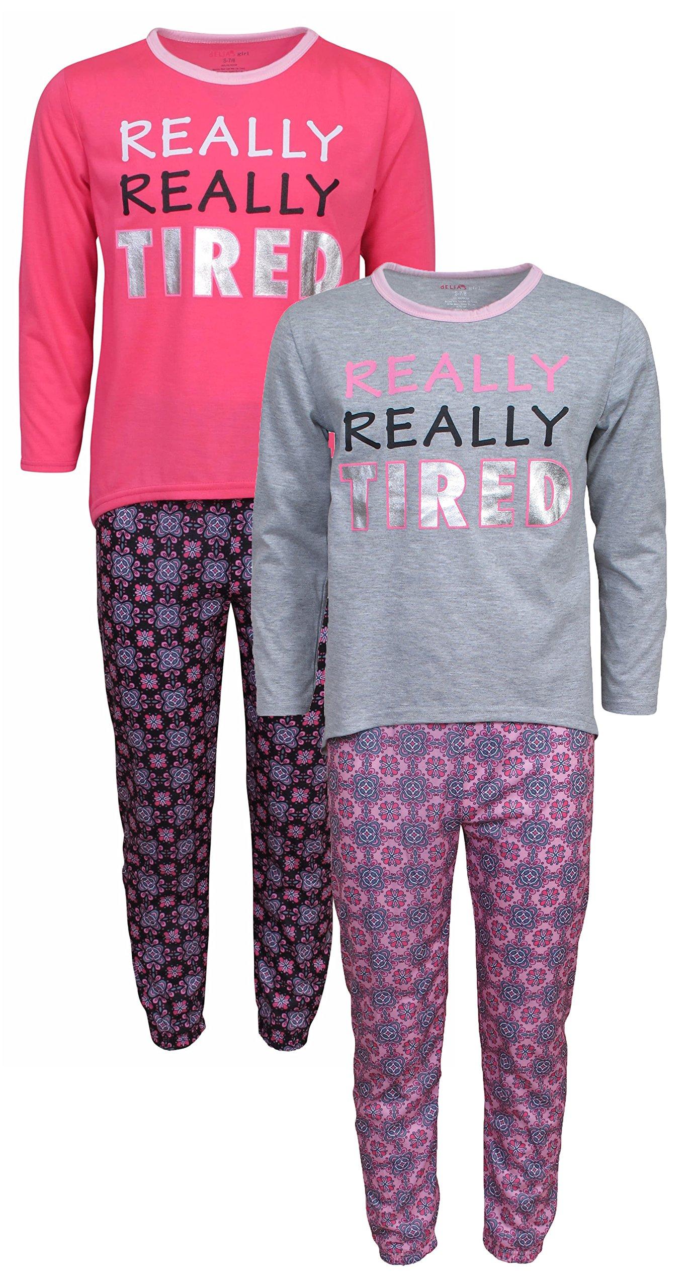 dELiA*s Girls Pajama Sleepwear Sets Long Sleeve Shirts With Pants, Tired, Size 10/12 (2 Full Sets)'
