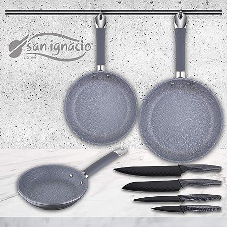 San Ignacio Set de 3 sartenes Premium + 4 Cuchillos de Cocina ...