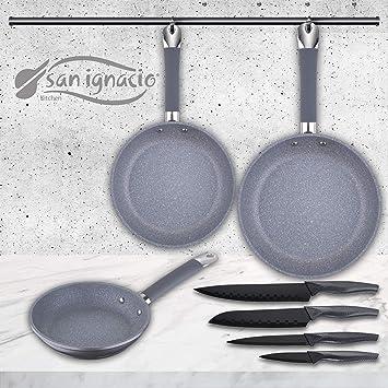 San Ignacio Set de 3 sartenes Premium + 4 Cuchillos de Cocina, SIP: Amazon.es: Hogar