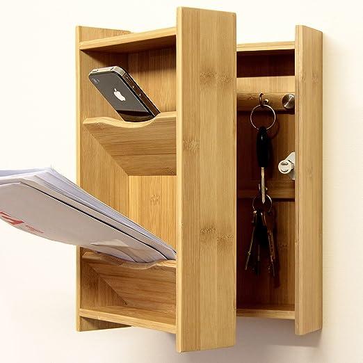 Bambú Colgador de pared para llaves con espacio para cartas/caja llavero: Amazon.es: Hogar