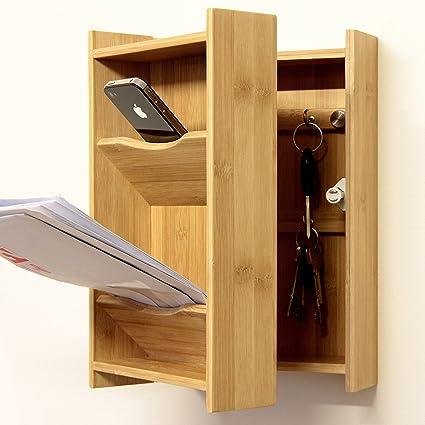 Bambú Colgador de pared para llaves con espacio para cartas ...