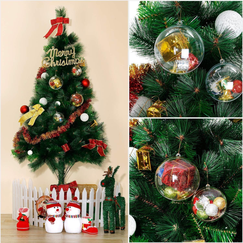 Lintimes Palline di Natale 20 Pezzi DIY Palline Acrilico Decorazioni Natalizie Sfera Plastica Trasparente per Decorazioni di Nozze Natale e Feste 50mm
