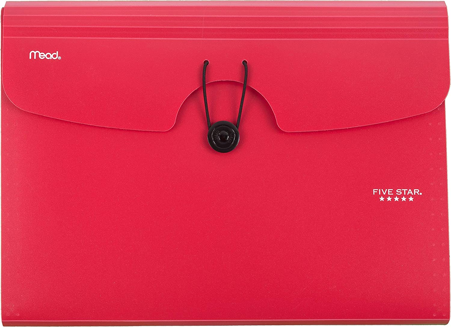 Five Star 6-Pocket Expanding File Organizer, Plastic Expandable Letter Size File Folders with Pockets, Home Office Supplies, Portable Paper Organizer for Receipts, Bills, Documents, Red (72387)