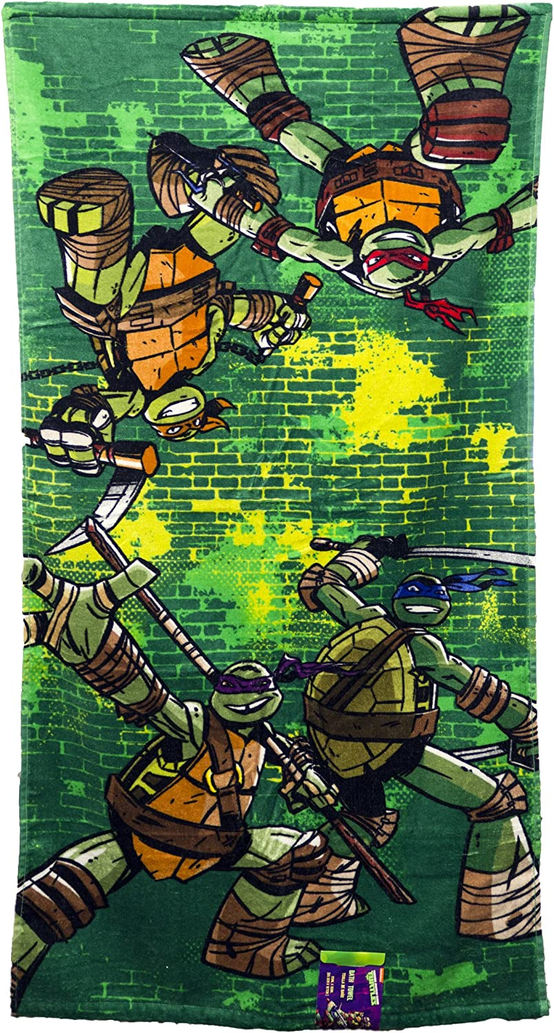 Nickelodeon Teenage Mutant Ninja Turtles Green Brick Kids Bath/Pool/Beach Towel - Super Soft & Absorbent Fade Resistant Cotton Towel, Measures 28 inch ...