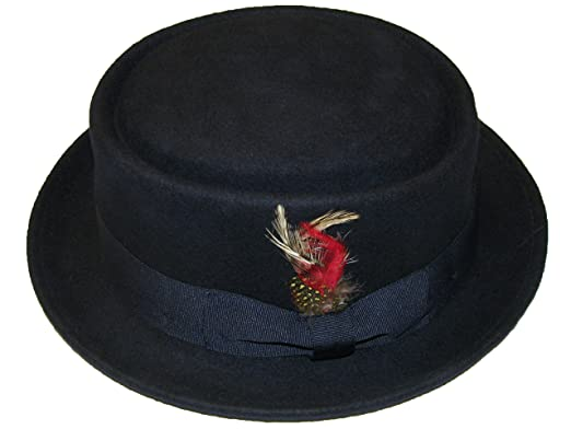 Unisex Superb Foldable Pork Pie Trilby Hat with Removable Feather and Matching Band 100/% Wool Hand Made Diamond Crown