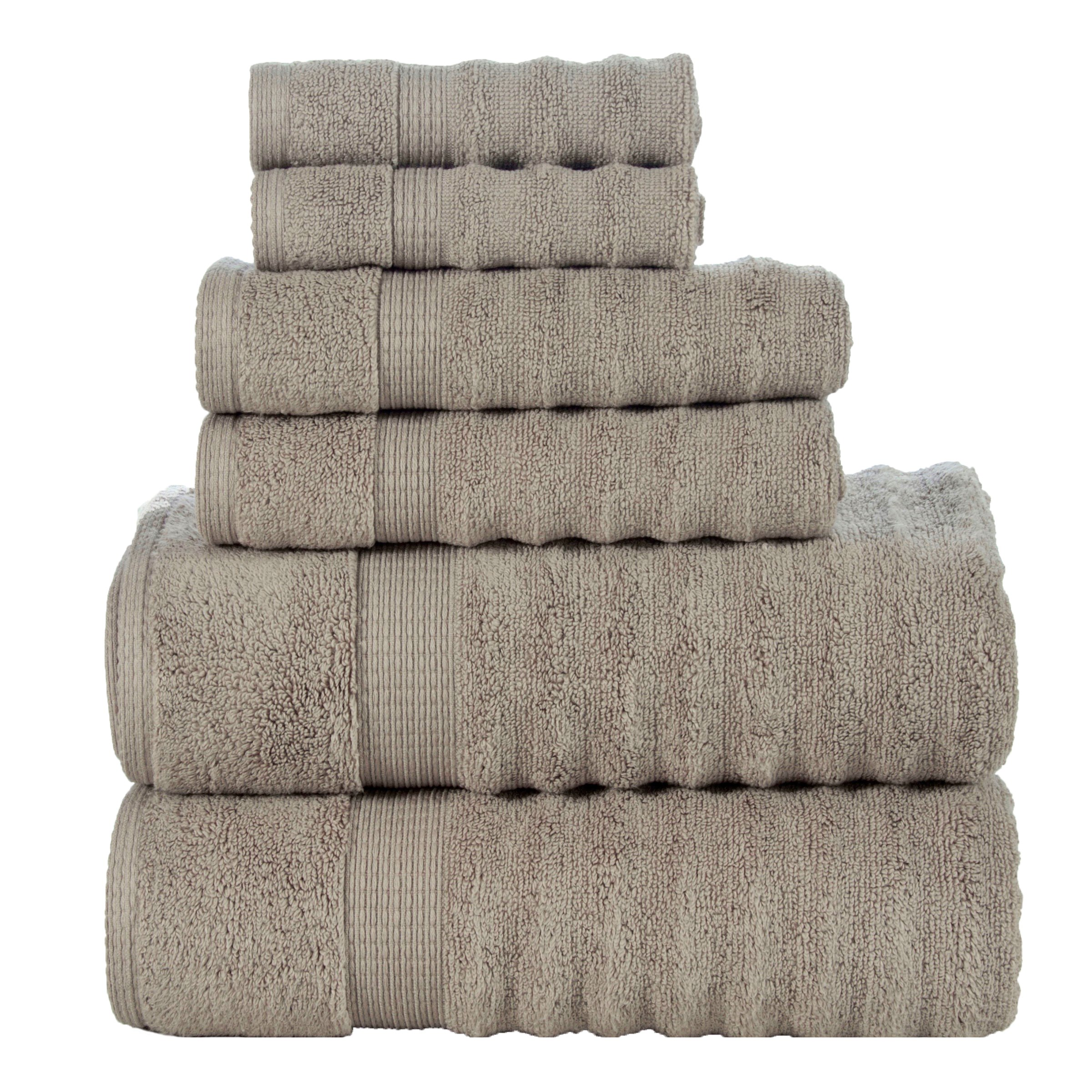 Affinity Home Collection 6 Piece Quick Dry Elegance Spa Zero Twist Cotton Ribbed Towel Set, Taupe