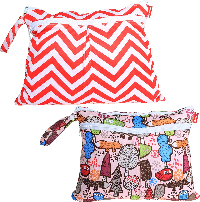 Damero 2pcs//pack Cute Travel Baby Wet and Dry Cloth Diaper Organizer Bag Tree+Red Chevron
