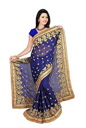 1c769ad41f NEW DESIGNER HEAVY EMBRODED STONE WORK NAVY BLUE COLOUR SAREE WITH BLOUSE:  Amazon.in: Clothing & Accessories