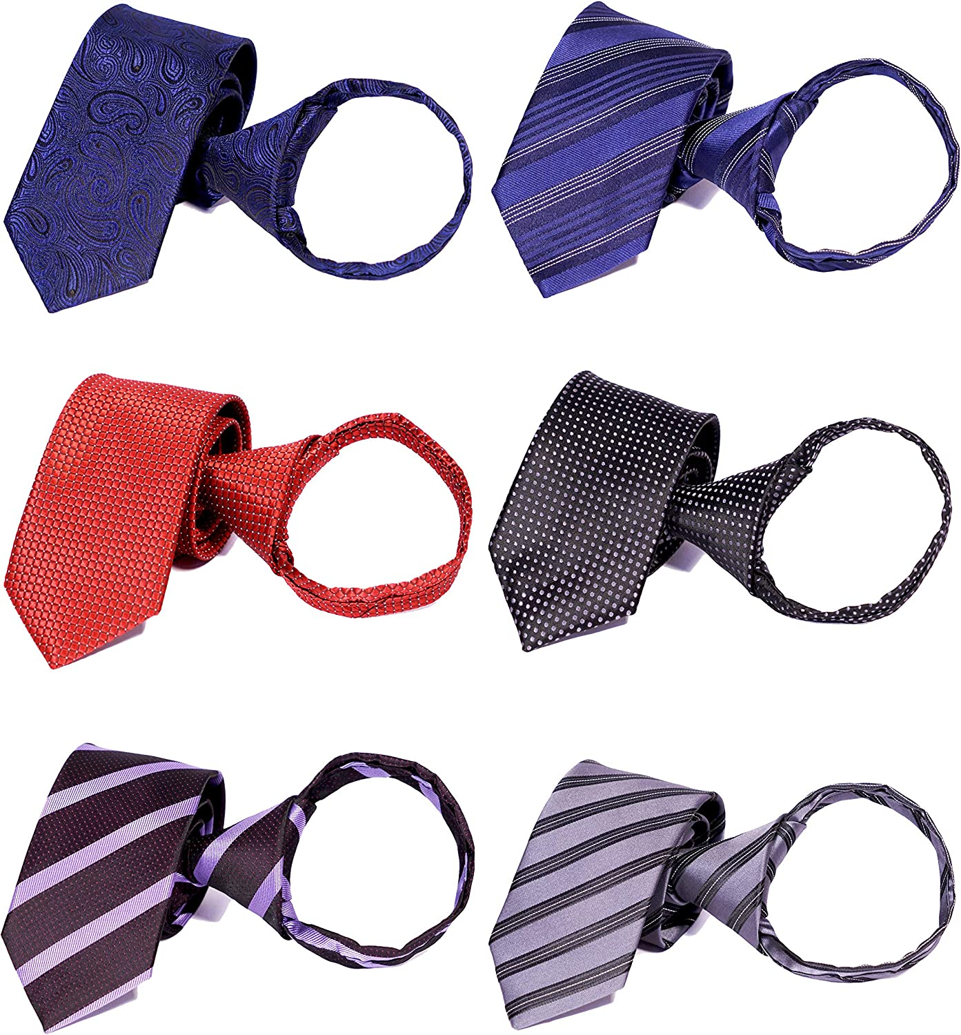 Tiger Mama 6pcs Zipper Skinny Tie Pre-tied Business Skinny Necktie Mixed Lot
