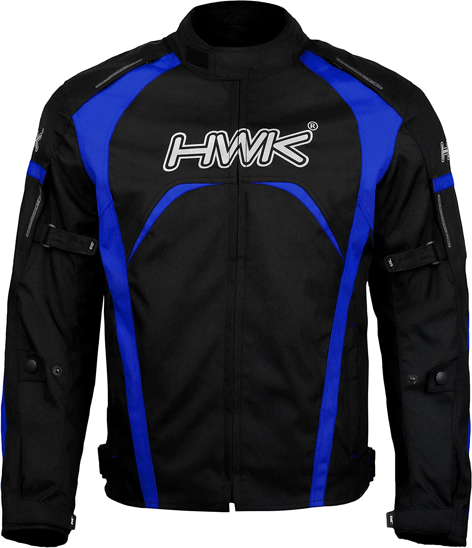 Blue, L Motorcycle Jacket Mens Riding HWK Textile Racing Motorbike Hi-Vis Biker CE Armored Waterproof Jackets